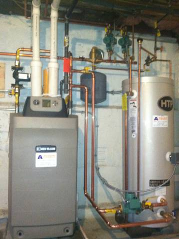Condensing boiler with indirect water heater